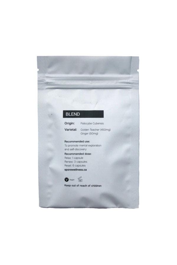 Spore Wellness Reset Macrodosing Mushroom Capsules Back Bag