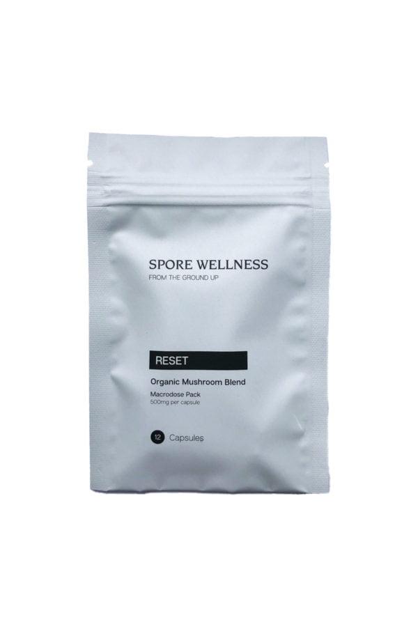 Spore Wellness Reset Macrodosing Mushroom Capsules Front Bag