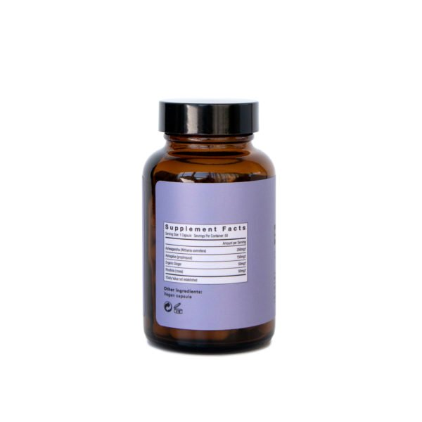 Be Calm Booster Mushroom Supplement Capsules Back